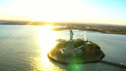 Aerial view of the Statue of Liberty, at Sunset New York Harbor, NY, USA