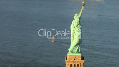 Aerial view of the Statue of Liberty, Ellis Island Manhattan, NY, USA