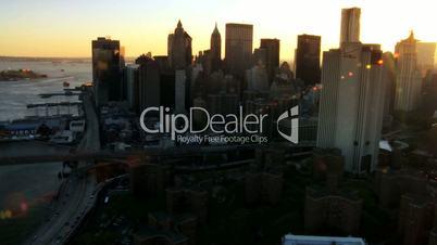 Aerial Skyline view of Lower Manhattan at Sunset New York, USA