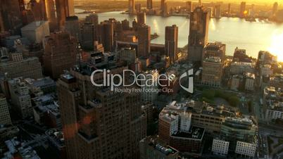 Aerial of New Jersey and Downtown Manhattan Skyline at Sunset, NY, USA