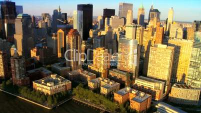 Aerial view of the Financial District, Manhattan and Harbor, NY, USA