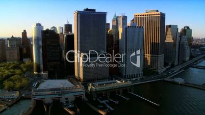 Aerial view of Manhattans Financial District, New York, North America