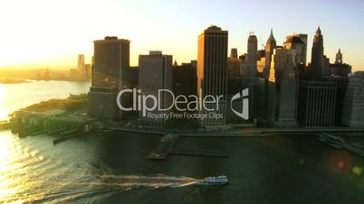 Iconic Aerial view over the Hudson River and Manhattans Financial District, NY, USA