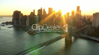 Aerial view of New York Financial District, Brooklyn Bridge, North America