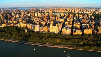 Aerial view of Upper West side, New York, Manhattan, America