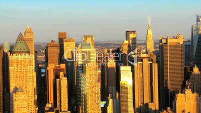 Aerial view of Mid Town Manhattan at Sunset New York, America