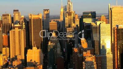 Aerial view of Manhattans Iconic Skyscrapers, New York City, USA