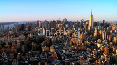 Skyline Helicopter Aerial view of Downtown Manhattan, NY, USA