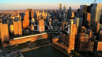 Aerial Fly though view of Manhattans Financial Business Quarter, NY, USA