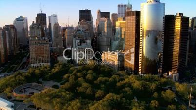 Aerial view of Manhattans Financial Business Quarter, NY, USA