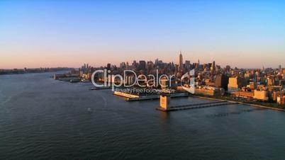 Skyline Aerial Panoramic view of Manhattan at Sunset, NY, USA