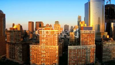 Aerial view of the Financial District of Manhattan at Sunset, NY, USA