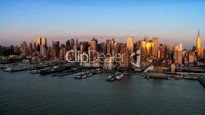 Aerial view of Downtown Manhattan at Sunset, NY, USA