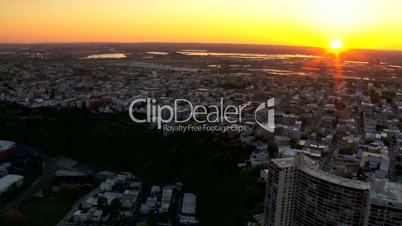 Aerial scenic view of urban New Jersey at Sunset, NY, USA