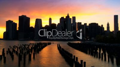 Time Lapse Sunset view of Manhattan Financial District, NY, USA