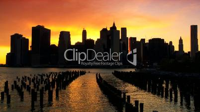 Sunset over the Hudson River, Manhattan Financial District, NY, USA