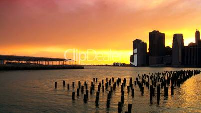 Sunset over the Hudson River Manhattan, Financial District, NY, USA