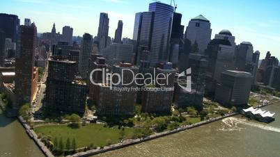Aerial view of the Financial District, Battery Park and Harbor, NY, USA