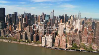 Aerial view of the Skyline of Midtown Manhattan and Financial District, NY, USA
