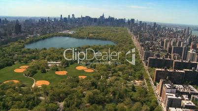 Aerial view of Central Park and Downtown Manhattan, New York, USA