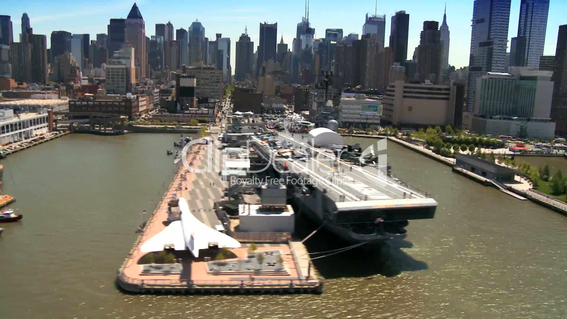 aerial view of concorde alongside uss intrepid in new york  usa  royalty
