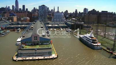Aerial view of Yachts in New York Harbor, Midtown Manhattan, America, USA