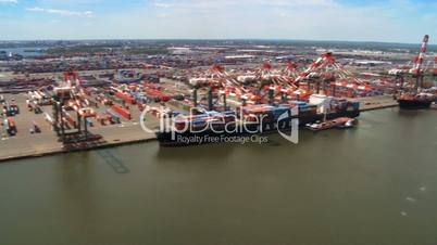 Aerial view of Container Port and Harbor, New York State, North America, USA