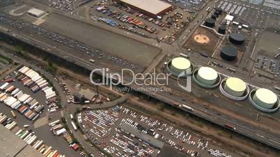 Helicopter Aerial view of Oil and Gas Storage tanks, New Jersey, NY, USA
