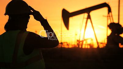 Female Engineer at Oil Production Site