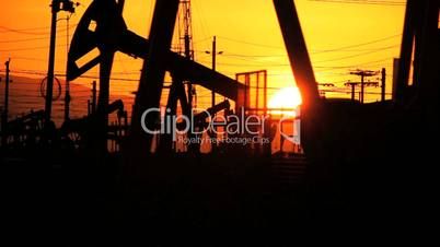 Oil Producing Pumps in Silhouette