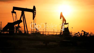 Oil Donkeys Producing Oil at Sunset