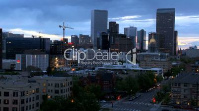 Time-lapse of Denver City Construction at Dusk