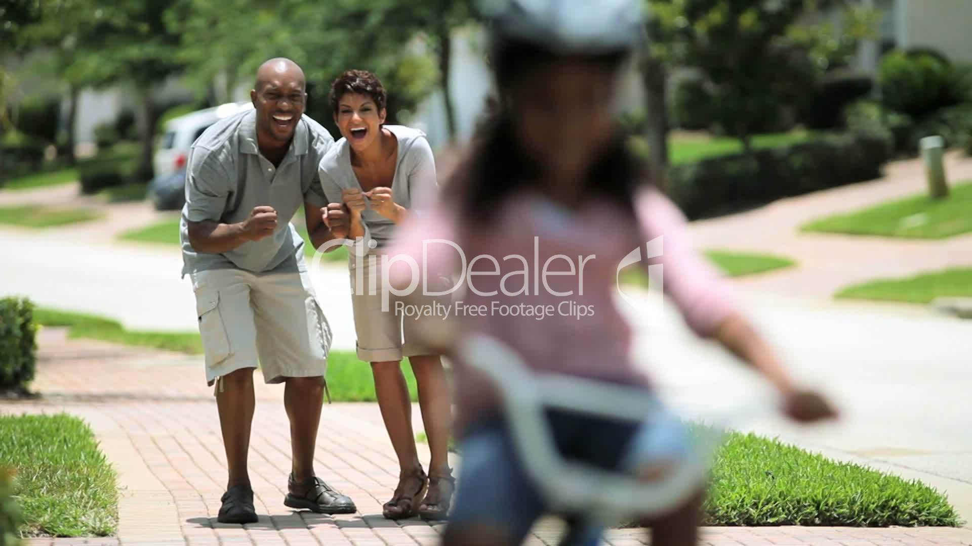 Little African American Girl Learning To Ride A Bike -2088