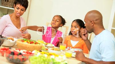 Ethnic Family Eating Healthy Low Fat Lunch