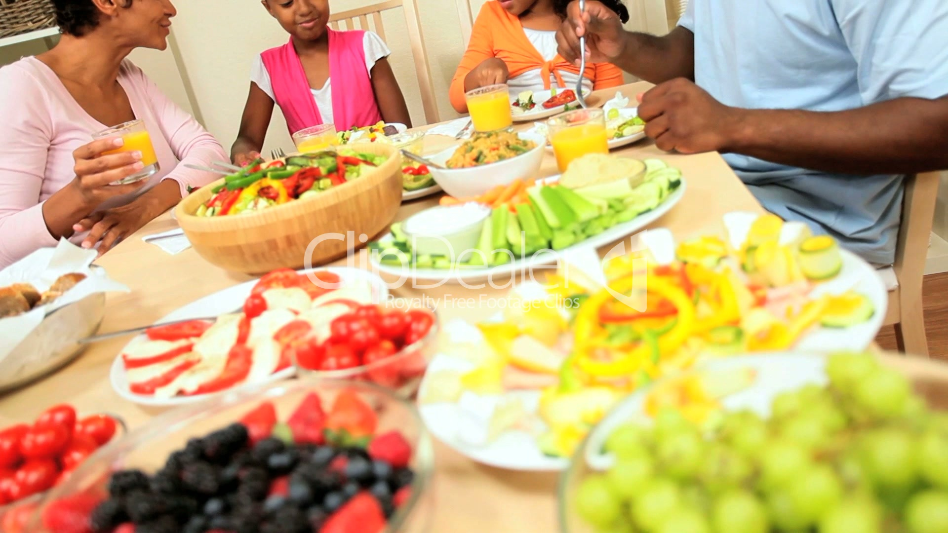 African American Family Healthy Eating Royalty Free Video