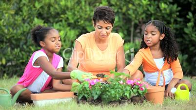 Little African American Girls Gardening with Mom