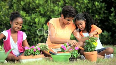 Ethnic Mother & Daughters Gardening Together