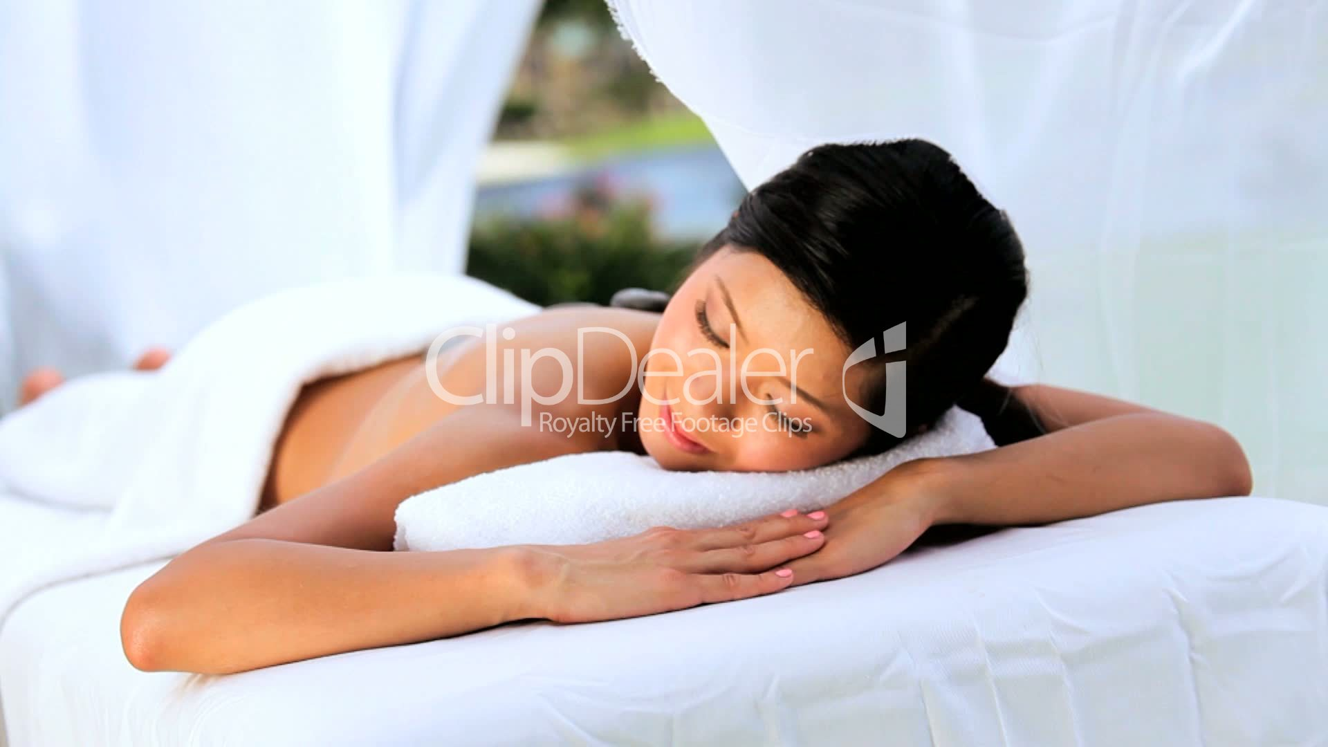 Beautiful Asian Girl Having Hot Stone Massage Therapy Royalty-Free Video And Stock -9679