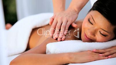 Beautiful Asian Chinese Girl Having Massage Therapy