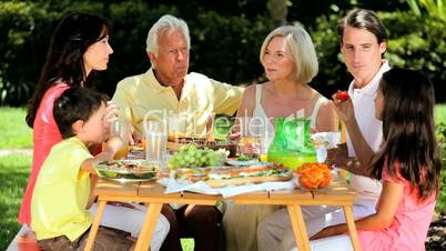 Caucasian Family Generations Eating Outdoors