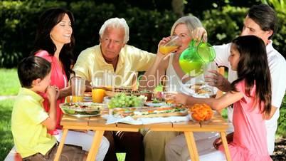 Three Generations Sharing Healthy Lunch