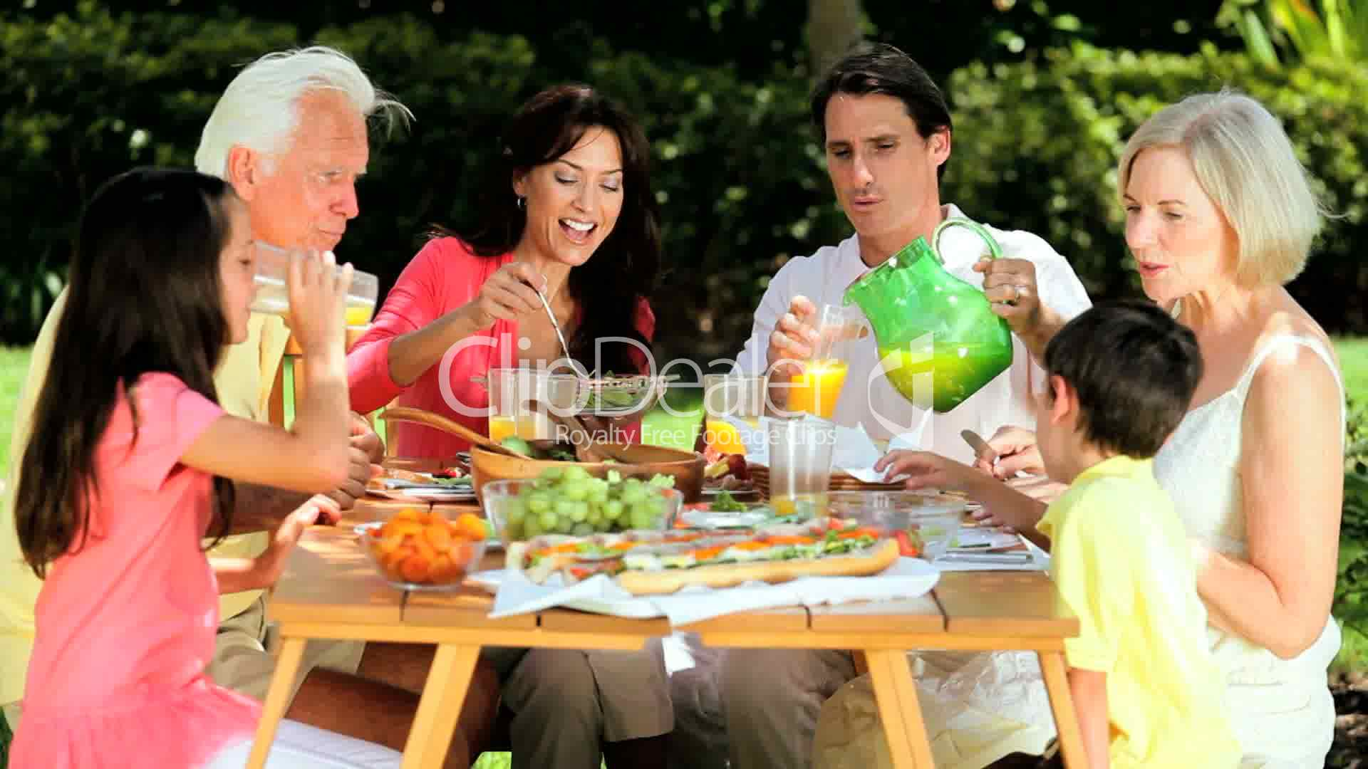 Family Generations Sharing Healthy Lunch  Royalty