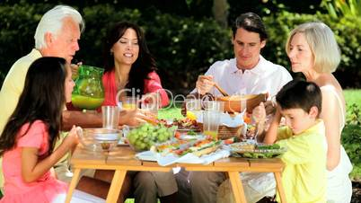 Family Generations Sharing Healthy Lunch