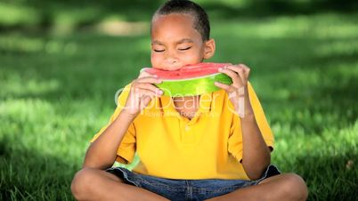 African American Child Eating Water Melon