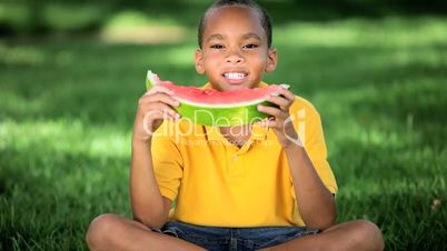 Young Ethnic Boy Healthy Eating