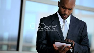 Smart Business Executives Using Wireless Tablet Outdoors