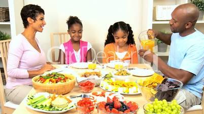 African American Family Enjoying Healthy Eating