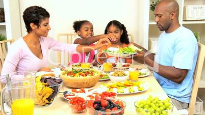 African American Family Enjoying a Healthy Lunch