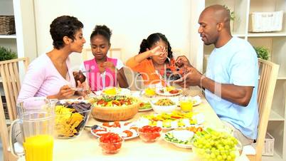 African American Family Eating Healthy Lunch