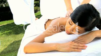 Asian Girl Enjoying Health Spa Pampering